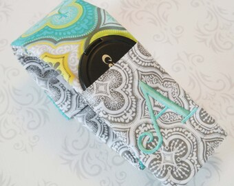 Embroidered Reversible Camera Strap Cover with Lens Cap Pocket - Photographer Gift - Teal and Gray Moroccan with Aqua