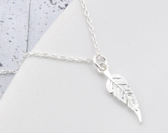 Sterling Silver Feather Necklace, necklace feather, feather, feather pendant, Charm feather, feather jewelry, bohemian, boho,