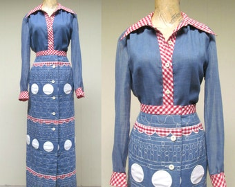 Vintage 1970s Separates / 70s Blue Voile and Gingham Blouse and Skirt Set / Medium