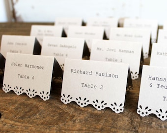 brown printed place cards for wedding, shower, party set of 100 mocha brown- whimsy
