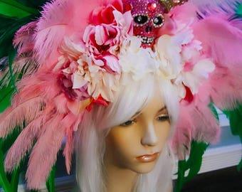 day of the dead headpiece edc headdress Burning Man headpiece Inca headdress goddess Mardi Gras headpiece