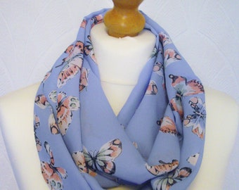 Butterfly infinity scarf loop scarf chiffon blue and pink butterflies scarf