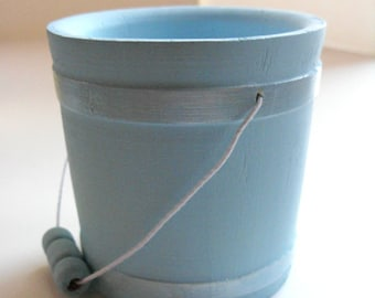 """Blue Wood Bucket - Spring decor, it's a boy baby shower, birthday party, Easter decor, something blue, 3"""" pail, 18"""" doll accessory"""