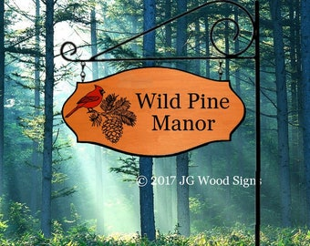 Cardinal Pinecone -Family Name Sign - Name Sign Cedar - Cabin Cottage - with RV Sign Holder JGWoodSigns Etsy  Rv Campsite Sign wildpinemanor