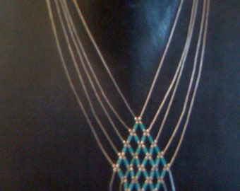 Now On Sale Native American Zuni Liquid Sterling Silver Turquoise Native American Large Multi Strand Bib Necklace