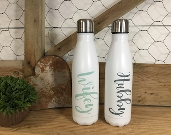 Hubby Wifey Water Bottle Set - Husband and Wife Gift Set - Wedding Set - Stainless Steel Water Bottle - Reusable Water Bottle- Gift for Wife