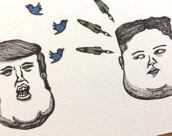 When Trump Meets Kim - Illustration available in postcard, greeting card and original art prints