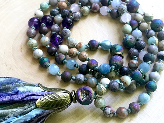 108 MALA BEADS, Druzy Necklace 108 Gemstone Mala Tassel Jewelry Druzy Necklace Boho Necklace Meditation Beads Mala Prayer Beads Yoga Gift