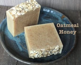 Soothing Honey Oatmeal Bar Organic Soap Natural Facial and Body Bar. Rich and Lush with Vitamin E. Great for sensitive skin.