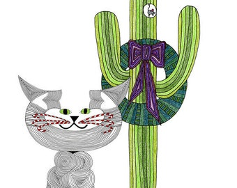 Christmas Card- Cat Art Cards- Crazy Cat Lady- Cat Greeting Card- Cat Tail- Cat Illustration- Cat Drawing-C-Cat Saguaro by beckyzimm