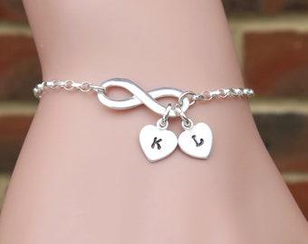 Infinity Bracelet Hand Stamped Heart Initials, Personalized Valentines Bracelet, Couples Bracelet, Love Bracelet, Gift For Girlfriend