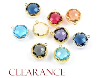 SALE! Round Glass Pendant, Honeycomb Faceted Glass Charm with Hammered Frame, Tarnish Resist Plated Frame, 2 PCS/ order