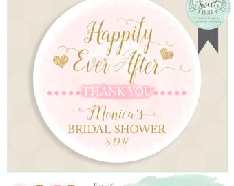 Bridal shower favor sticker PHRASE happily ever after. INCLUDES color qty and size of choice. Glossy sticker label watercolor and glitter