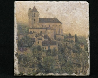 Set of 4 Marble Coasters - Fog Descending on St. Cirq