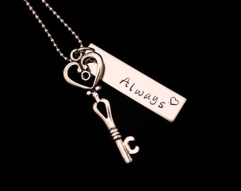 Her One His Only - I love you  - Always - Hand stamped Necklace set - couple set - anniversay- Valentines Day or wedding gifts