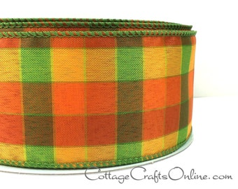 "Fall Wired Ribbon, 2 1/2"" Plaid, Orange, Green,Yellow - THREE YARDS -  ""Berkshire Check"" Halloween, Thanksgiving Wire Edged Ribbon"