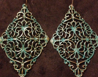 Gold and Green Filagree Earrings