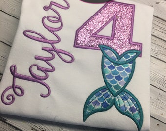 Mermaid birthday applique shirt! FREE PERSONALIZATION! Customize the colors for your mermaid!