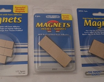 "Wholesale Magnets Adhesive-backed High Energy Flexible 1"", 3/4"", 1/2"" Square 2 lots of 25 packages each"
