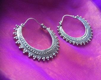 Tribal hoop silver earrings