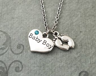 Baby Boy Necklace SMALL Baby Boy Heart Necklace Boy Jewelry New Mom Favor New Baby Present Baby Shower Heart Jewelry Baby Feet Necklace Gift