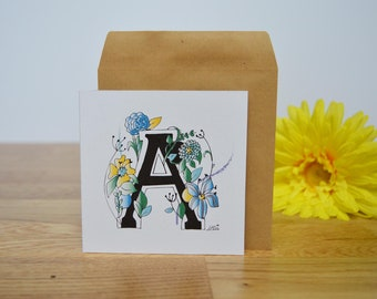 Mini alphabet greetings card/ notecard with envelope