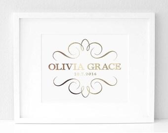 8x10 - Gold * Silver * Copper * Metallic Foil - Custom Birth Poster Nursery Art Print
