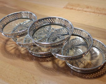 Vintage Sterling Silverplate and Glass Coasters - Filigree Sides - Cut Glass