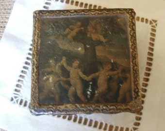 Vintage Florentine Box / Cherub Trinket Box / Italian Gilt Jewelry Box / Wood Jewelry Box