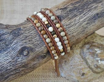 Beaded Leather Wrap Bracelet: Picture Jasper, Neutral Wrap Bracelet, Boho Jewelry, Leo Woman Jewelry, 3rd Anniversary, Gift for Her