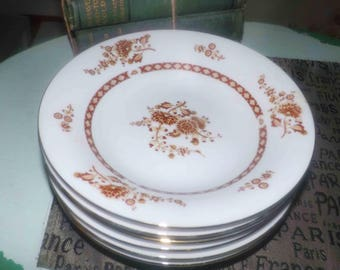 Vintage (1980s) Liling Cathay pattern coupe-shape soup or salad bowl.  Brown floral sprays and brown band on white. Hard to find!
