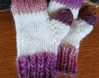 Wool medium child mittens. Pink, red, purple, cream. Soft and warm. Handmade knit