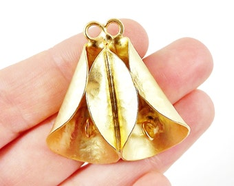 Unusual Twin Cone Pendant with Loops - LIMITED STOCK! - 22k Matte Gold Plated - 1PC
