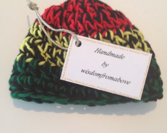Baby Hat Crochet Rasta Infant Photography Prop 3-6 months Red Yellow Green with Black