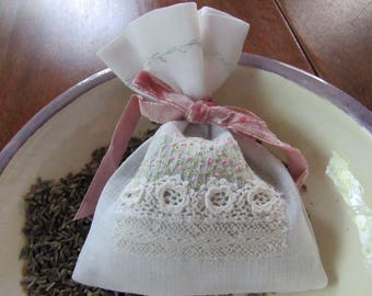Sachet, Lavender, White Linen, Embroidered and Lace