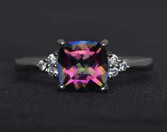 mystic topaz engagement ring rainbow topaz ring cushion cut promise ring sterling silver ring gemstone ring