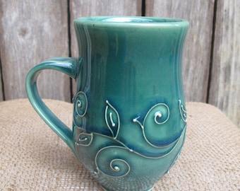 Green Slip Trailed Swirl Coffee Mug