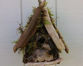 Driftwood Bird House Hand Made Rustic Garden Decor Bird Watcher Gift Outdoor Coastal Driftwood Yard Art