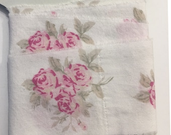 Rachel Ashwell fabric,shabby chic, 2 inches wide ribbon,pink white floral, hand torn,vintage  paris tag, 1389