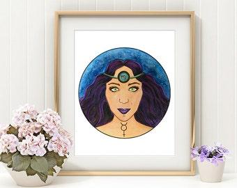 Virgo Art Print - Virgo the Virgin - Astrology Decor - Zodiac Gifts - Johna Gibson Bowman Art - Astrology Art - Virgo Print - Mercury Print
