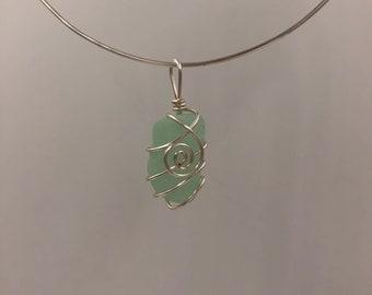 Seafoam beachglass pendant
