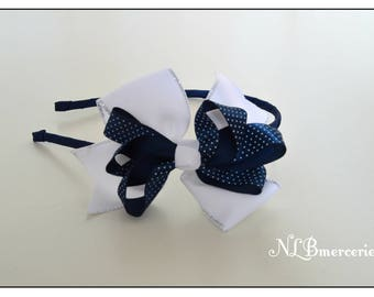 Navy Blue headband and white one size fits for child