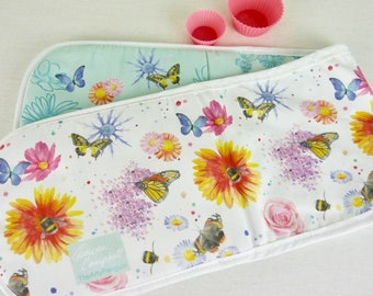 Oven Gloves - flowers butterflies and bees - floral patterned kitchen gift - flower butterfly and bee present for cook