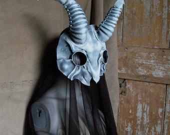 Baphomet goat skull leather mask in ghostly bone, gray, black, white