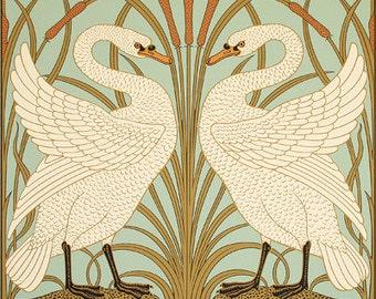 Victorian Walter Crane Swan and Iris Poster