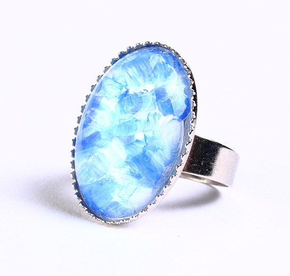 Handpainted royal blue white silver adjustable ring cocktail ring (694-4)
