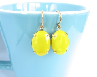 Lemon Yellow Crystal Dangle Earrings Vintage Glass Stone Antiqued Gold Brass Boho Old Hollywood Solid Yellow Under 20 Gift for Women Summer