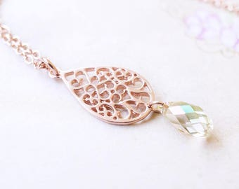 Necklace, Rose Gold Necklace, Crystal Necklace, Green Necklace, Swarovski Necklace, Handmade Necklace, Boho Necklace, Gift for Her, Gift