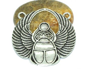 Connector Egyptian scarab antique silver 42x41mm