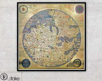 Ancient World Map print , The Fra Mauro World map,vintage fine Art Archival print - 103
